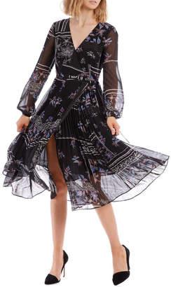 Miss Shop Scarf Pleated Skirt Midi Dress