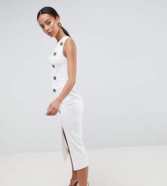 Asos Tall DESIGN Tall asymmetric city maxi dress with button detail