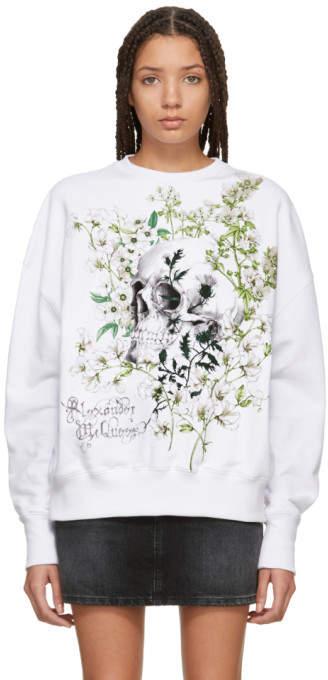 White Garden Skull Sweatshirt