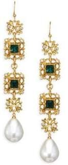 Kenneth Jay Lane Crystal& Pearl Drop Earrings