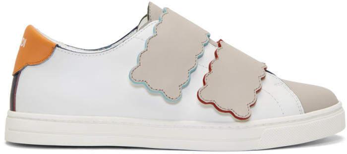 Fendi Multicolor Scalloped Double Strap Sneakers