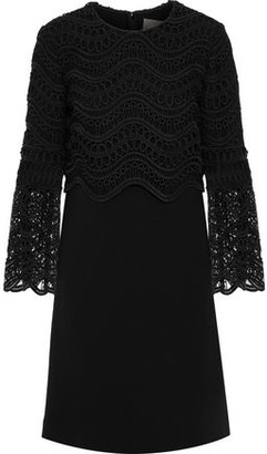 Lela Rose Guipure Lace-Paneled Wool-Blend Crepe Mini Dress