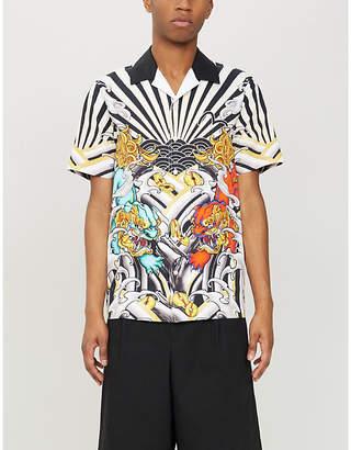 Evisu Kirin lion tattoo-print regular-fit cotton resort shirt