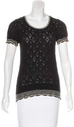 Tibi Wool Short Sleeve Top
