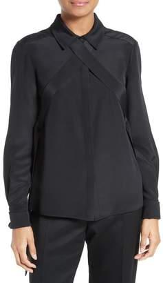 Tibi Chica Tie Detail Silk Blouse