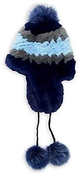 Pologeorgis Women's Rex Rabbit & Fox Fur Pom-Pom Trapper Hat