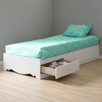 South Shore Furniture South Shore Crystal Twin Storage Bed (39'') with 3 Drawers, Pure White