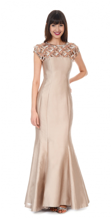 Kay Unger- Jewel Detail Ball Gown in Champagne