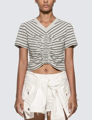 Alexander Wang Alexander Wang.T Wash & Go Stripe Ruched Crop T-shirt