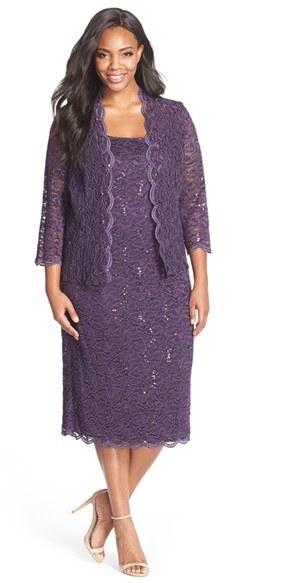 Alex EveningsPlus Size Women's Alex Evenings Lace Dress & Jacket