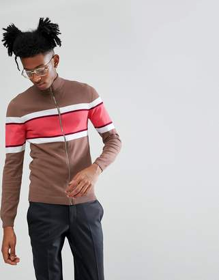 Asos Knitted Muscle Fit Track Jacket In Brown
