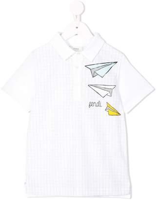 Fendi paper plane polo shirt