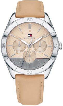 Tommy Hilfiger Women's Tan Leather Strap Watch 40mm, Created for Macy's