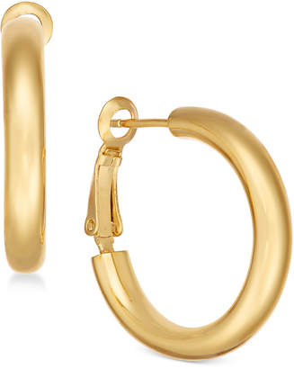 Essentials Small Polished Gold Plated Hoop Earrings