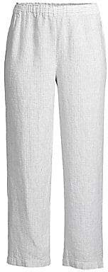 Eileen Fisher Women's Mini Stripe Organic Handkerchief Linen Cropped Pants