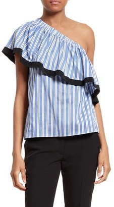 Women's Milly One-Shoulder Cotton & Silk Top $295 thestylecure.com