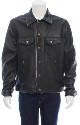 Nudie Jeans Button-Up Leather Jacket