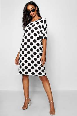 boohoo Tall Polka Dot T-Shirt Dress