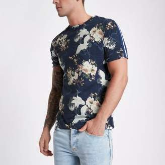 River Island Blue floral bird print tape slim fit T-shirt