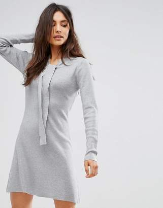 QED London Sweater Dress With Tie Neck Detail