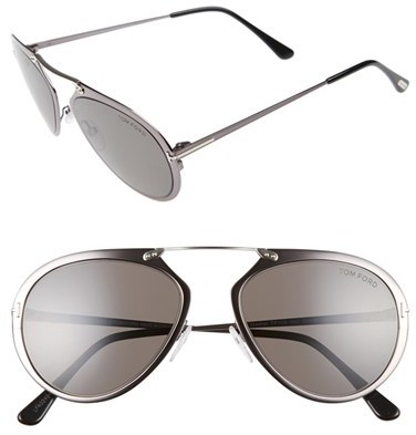 Women's Tom Ford Dashel 55Mm Sunglasses - Gunmetal/ Palladium/ Black