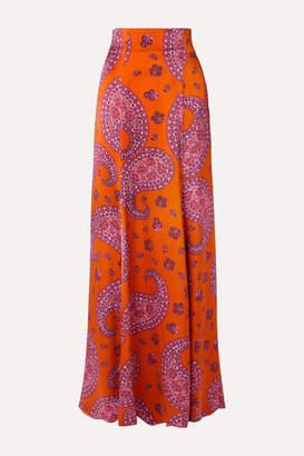 Rebecca De Ravenel Terry Paisley-print Silk-satin Maxi Skirt - Orange