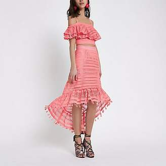 River Island Pink crochet high low hem midi skirt