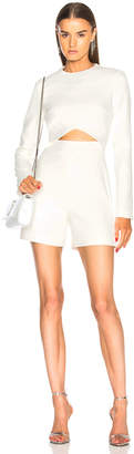 David Koma Front Midriff Cutout Long Sleeve Romper