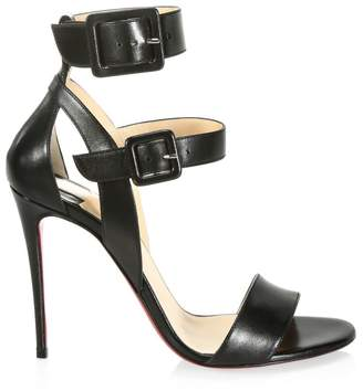 e73e58c3e70 Christian Louboutin Multipot 100 Leather Double Strap Slingback Sandals