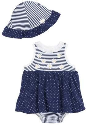 Little Me Daisy Dots Popover Bodysuit & Sun Hat Set