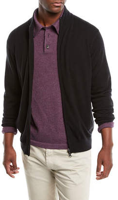 Neiman Marcus Men's Casual Merino Wool Zip-Front Cardigan Sweater