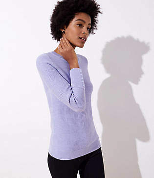 LOFT Textured Button Cuff Sweater