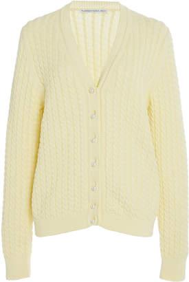 Alessandra Rich Long-Sleeve Cotton Ribbed-Knit Cardigan