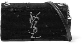 Saint Laurent West Hollywood Leather-trimmed Sequined Satin Shoulder Bag - Black