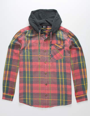 LIRA Walnut Mens Hooded Flannel Shirt