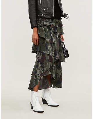 10836b9b7e The Kooples Camouflage-print tiered-ruffle silk-crepe skirt