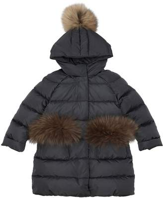 Il Gufo Hooded Nylon Down Coat W/ Fur Details