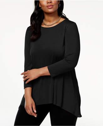 Alfani Plus Size Chiffon-Back Tunic, Created for Macy's