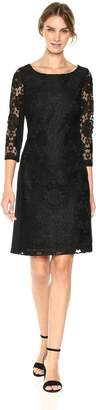 Nine West Women's Medallion Lace/Ponte Combo 3/4 Sleeve Dress, Black/Nude