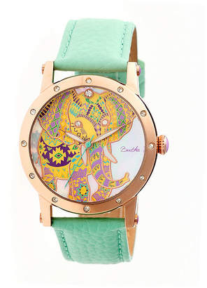 Mother of Pearl BERTHA Bertha Womens Betsy Mother-Of-Pearl Mint Leather-Band Watchbthbr5704