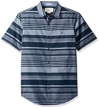 Original Penguin Men's Short Sleeve Uneven Horizontal Stripe Shirt Withbutton Down Collar