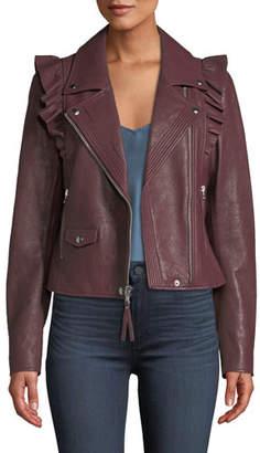 Paige Annika Zip-Front Ruffled-Trim Lamb Leather Moto Jacket