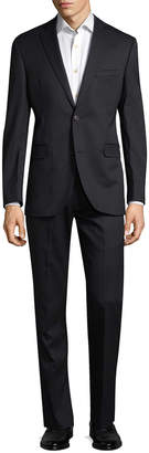 Saks Fifth Avenue Striped Wool Trim Fit Suit