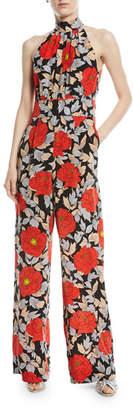 Diane von Furstenberg High-Neck Sleeveless Wide-Leg Floral-Print Silk Jumpsuit