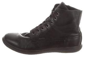 Prada Sport Leather Round-Toe Combat Boots