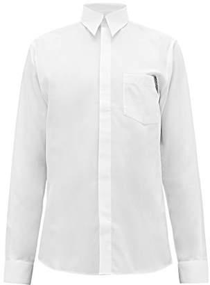 Givenchy Logo Jacquard Slim Fit Cotton Poplin Shirt - Mens - White