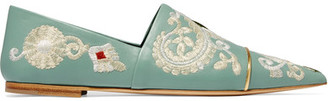 Etro - Embroidered Leather Point-toe Flats - Green $1,010 thestylecure.com