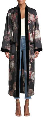 Tularosa Donna Velvet-Trim Floral Charmeuse Robe