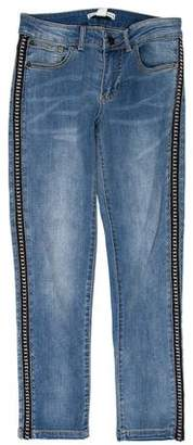 Alice + Olivia Chain-Embellished Mid-Rise Jeans