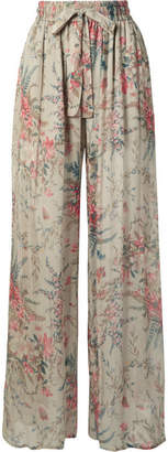 Zimmermann Bayou Shirred Floral-print Silk-crepon Pants - Light gray